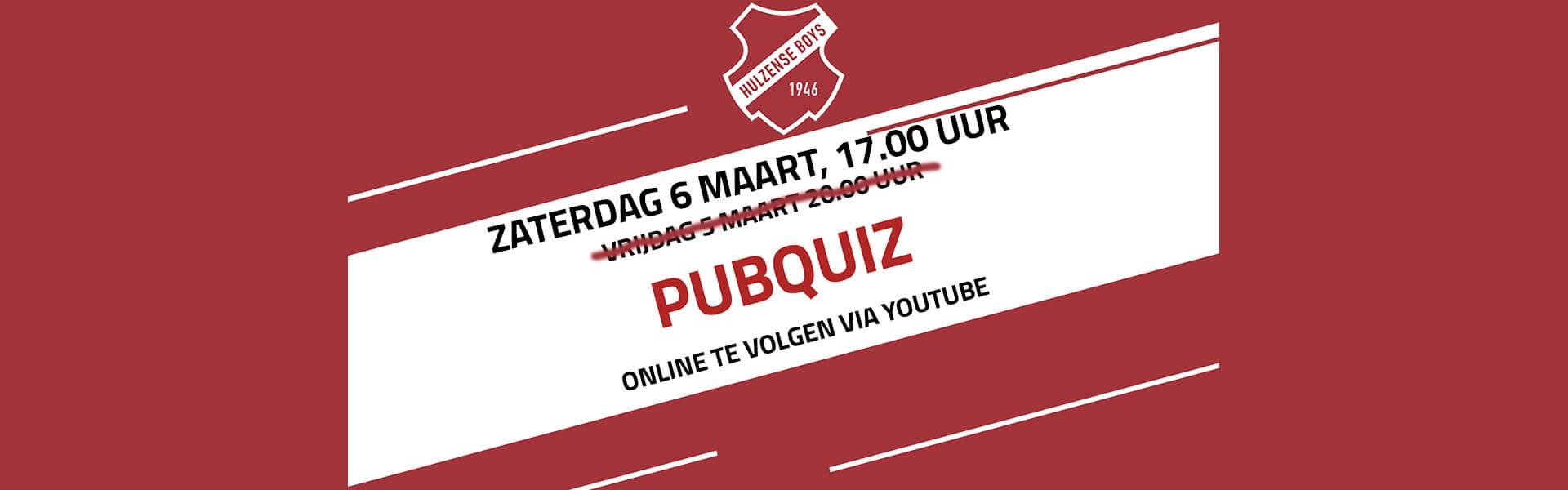Online pubQuiz verplaatst naar zaterdag 6 maart
